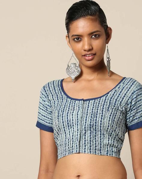 Ajrak Print Cotton Front Open Blouse By Molcha ( Blue )