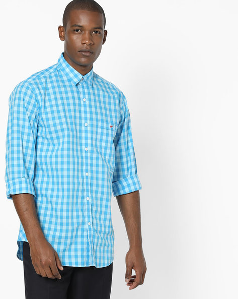 Checked Shirt With Patch Pocket By Wills Lifestyle ( Blue )