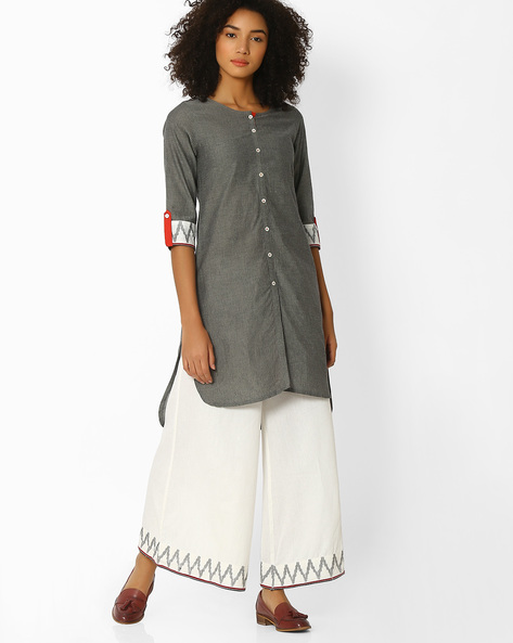 High-Low Kurta With Printed Sleeve Hems By SIYAHI ( Greymelange )