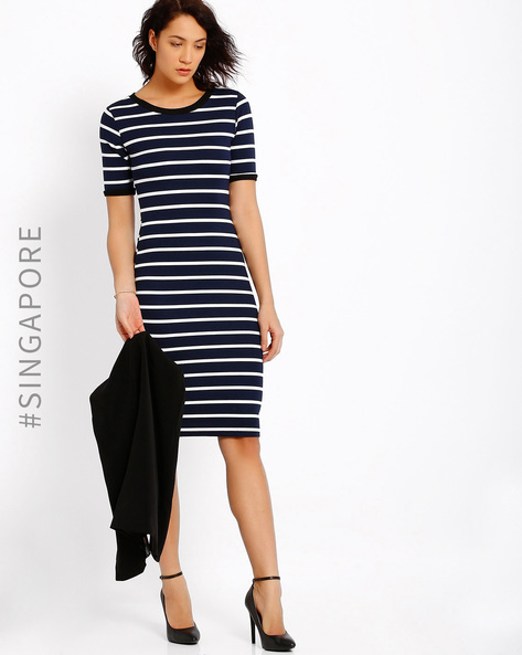 Striped Midi Dress By MDS ( Multi )