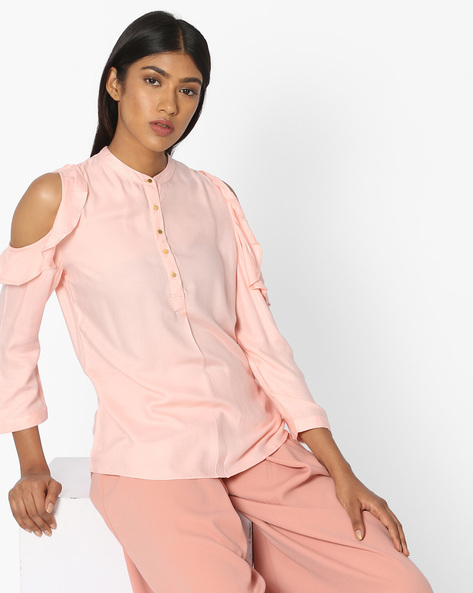 Cold-Shoulder Shirt With Short Button Placket By KRAUS ( Brtmulti )