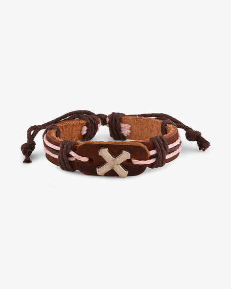 Faux-Leather Bracelet With Metallic Accent By ALPHA MAN ( Multicolor )