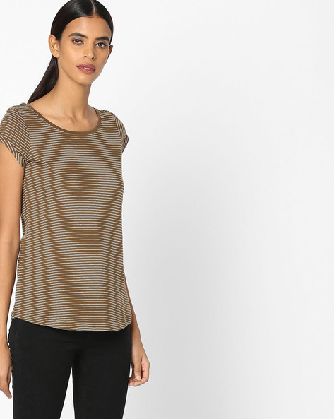 Striped Top With Upturned Sleeve Hems By Fame Forever By Lifestyle ( Olive )