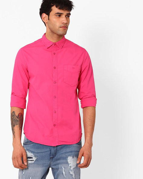 Slim Fit Casual Shirt By Blue Saint ( Pink )