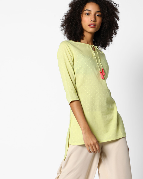 High-Low Tunic With Tassel Tie-Up By AJIO ( Lime )