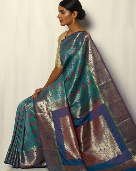 Patola Style Brocade South Silk Saree By Pretty Woman ( Green ) - 460092276001