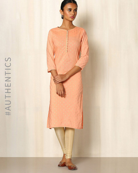 Gold Khari Handblock Print Cotton Kurta By Indie Picks ( Peach )