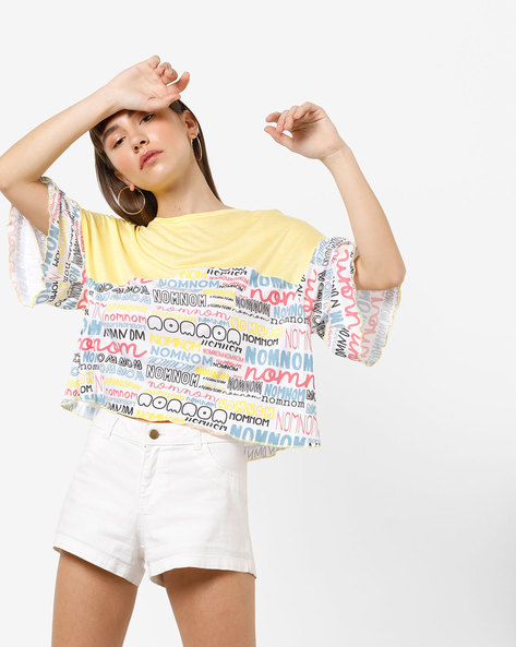 Typographic Print Round-Neck Top By AJIO ( Yellow )