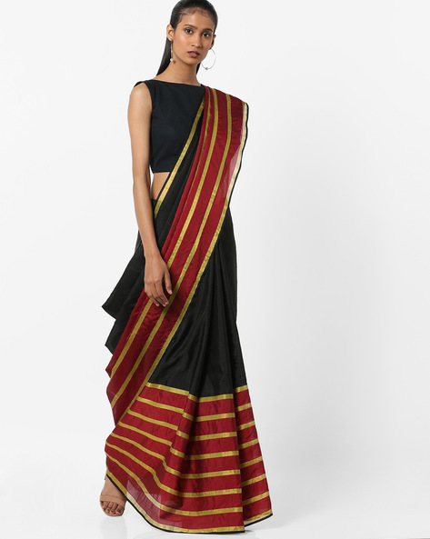 Striped Saree With Zari Border By Florence ( Red ) - 460174913001