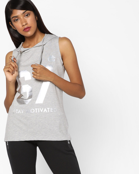 Hooded T-shirt With Numeric Print By KAPPA ( Grey )