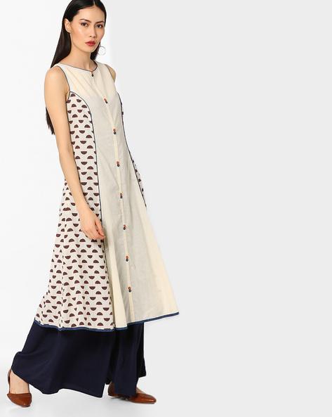 Panelled & Printed Sleeveless Kurta By AJIO ( Indigo )