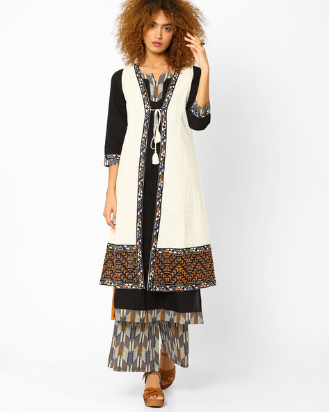 Embroidered Open-Front Long Jacket By AJIO ( Offwhite )