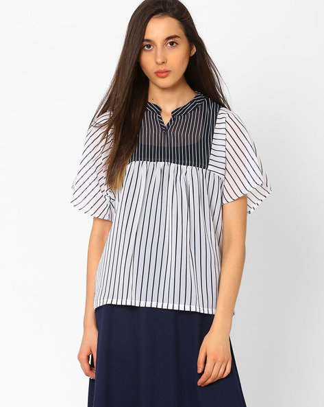 Striped Top With Mandarin Collar By CHM ( Ltmulti )