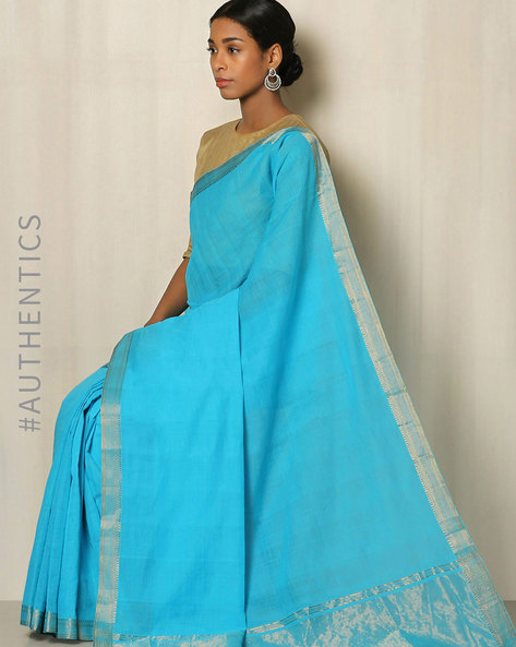 Handwoven Mangalgiri Cotton Saree With Zari Border By Indie Picks ( Blue ) - 460034837001