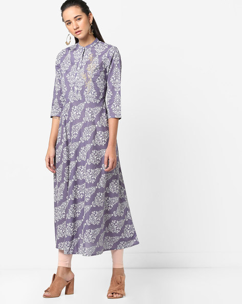 Printed Flared Kurta With Mandarin Collar By AJIO ( Purple )