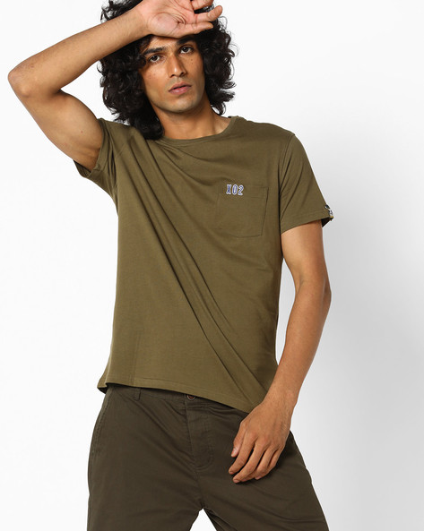 Slim Fit T-shirt With Graphic Print Back By AJIO ( Olive )