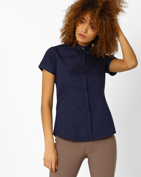 Cotton Shirt With Spread-Collar By Annabelle By Pantaloons ( Navy )