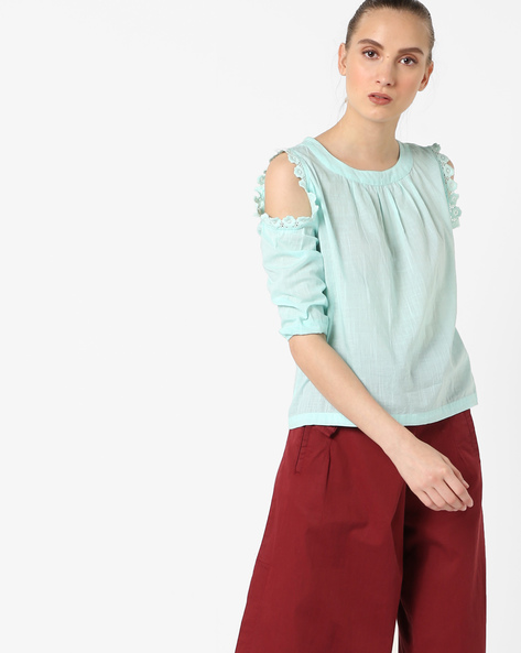 Cold-Shoulder Top With Lace Insets By AJIO ( Mint )