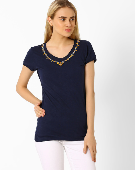 T-shirt With Embellished Neckline By CHM ( Navy )