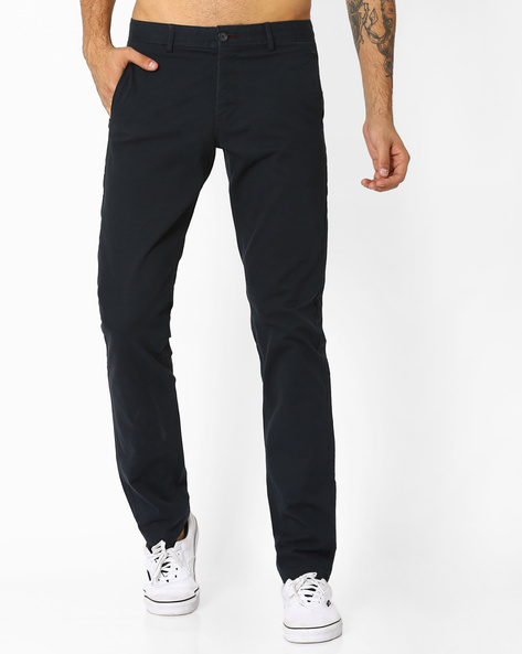 Tapered Fit Dobby Stretch Trousers By BASICS ( Navy )