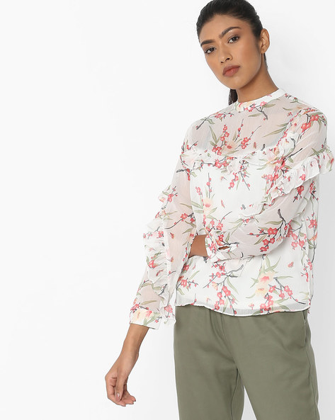 Floral Print Top With Frills By RIO ( Offwhite )