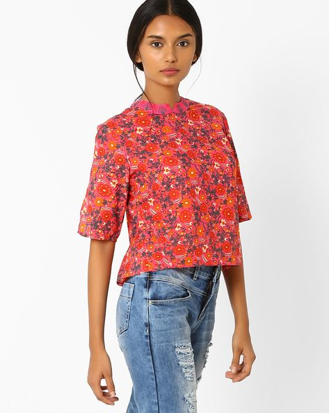 Floral Print Layered Top By AJIO ( Pink )