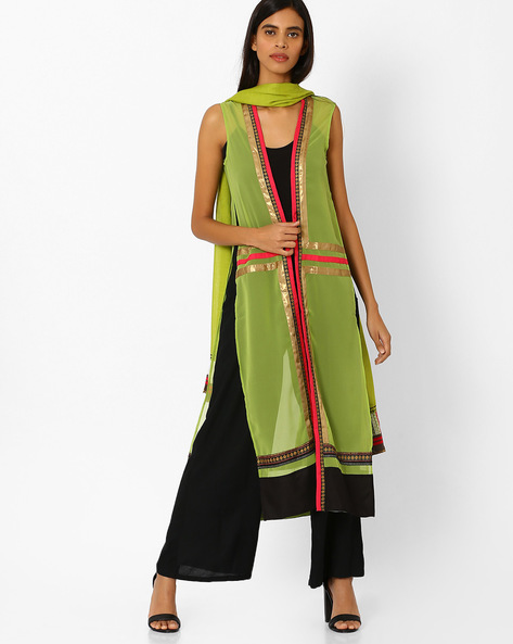 Open-Front Sleeveless Jacket By W ( Green )