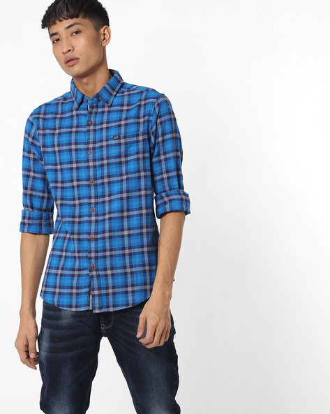 Slim Fit Checked Shirt With Patch Pocket By The Indian Garage Co ( Blue )