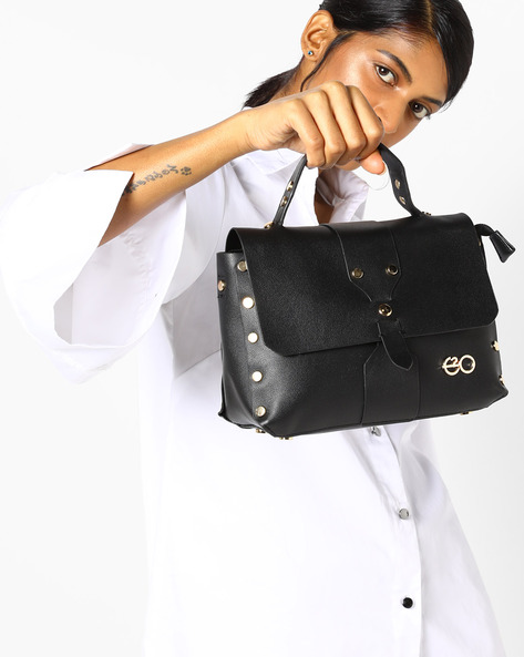 Satchel Bag With Detachable Strap By E2O ( Black )