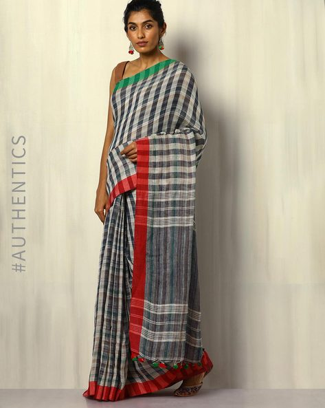 Handloom Bengal Pure Linen Checked Saree With Tassels By Indie Picks ( Multicolour ) - 460107166001