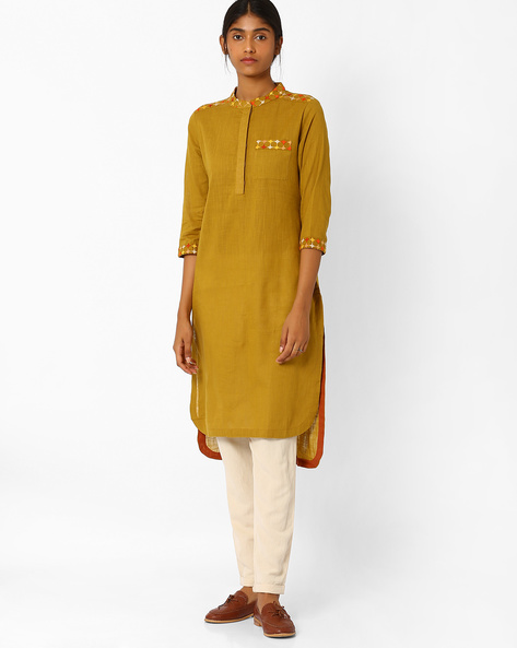 High-Low Kurta With Patch Pocket By AJIO ( Olive )