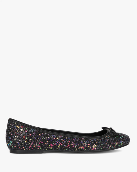 Embellished Ballerinas With Bow By AJIO ( Black )