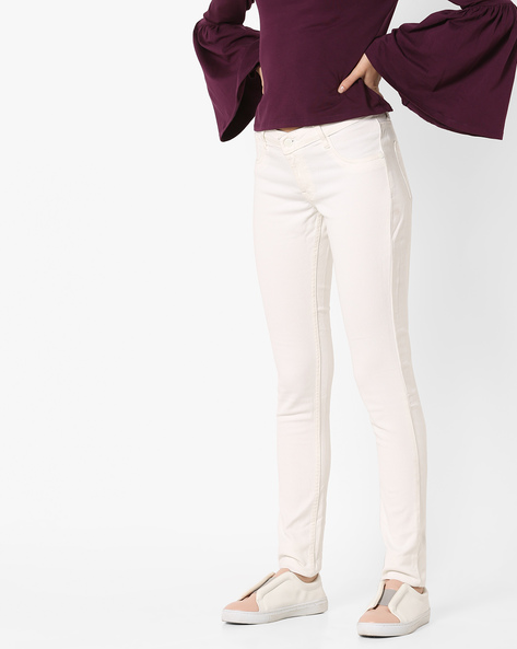 Flat-Front Trousers With 5 Pockets By And ( White )