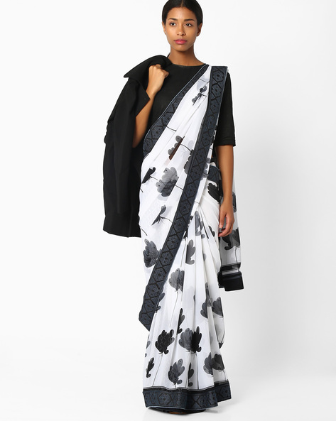 Floral Print Saree With Contrast Border By Amori ( White )