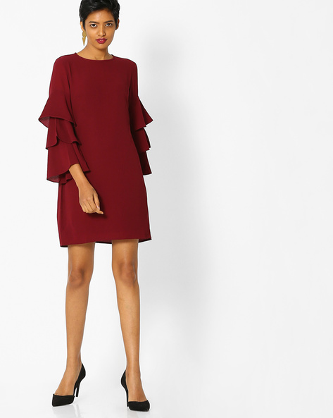 Shift Dress With Tiered Dress By Only ( Maroon )