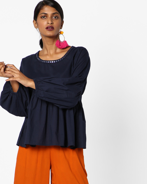Panelled Top With Mirror Work By AJIO ( Blue )