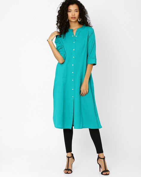 Cotton Dress With Front Button Placket By Khimsariya ( Turquoise )