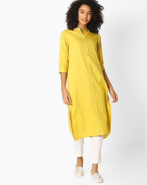 Collared Kurta With Roll-Up Sleeves By Shree ( Limegreen )
