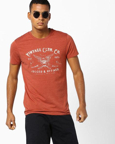Graphic Print Slim T-shirt By Jack & Jones ( Maroon )