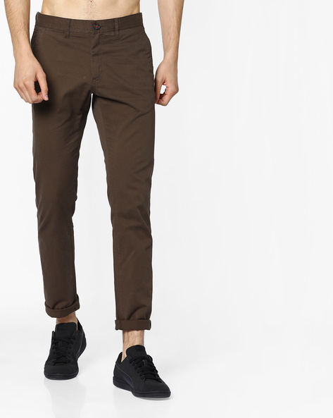 Slim Fit Mid-Rise Chinos By NETPLAY ( Olive )