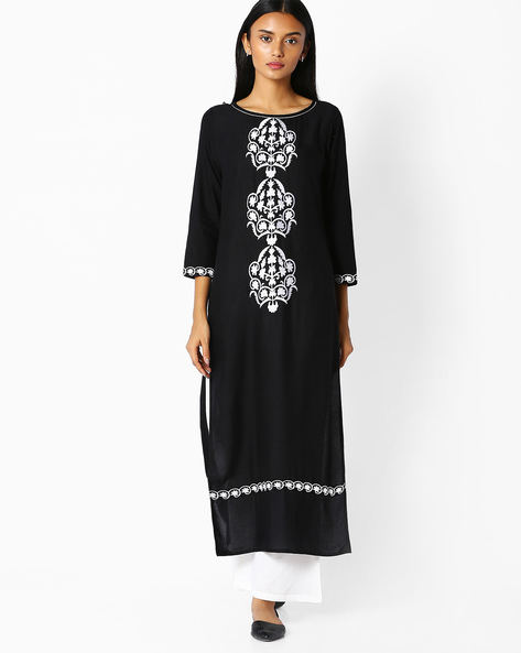 Straight Kurta With Embroidery By Jaipur Kurti ( Black ) - 460045471005