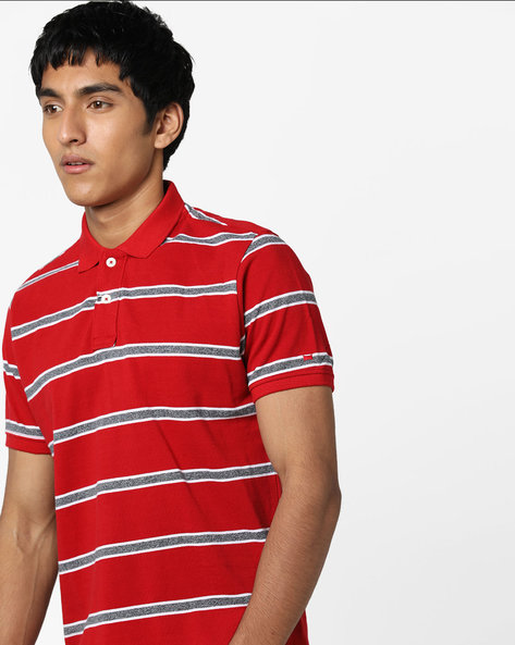 Slim Fit Striped Polo T-shirt By BASICS ( Red )
