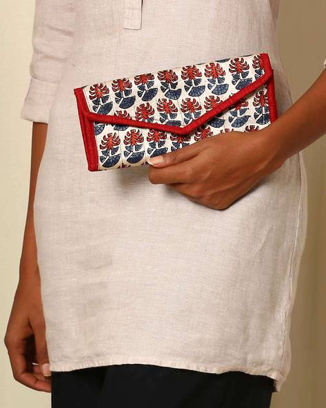 Handblock Print Mashru Silk 3-Fold Envelope Clutch By Indie Picks ( Multi )