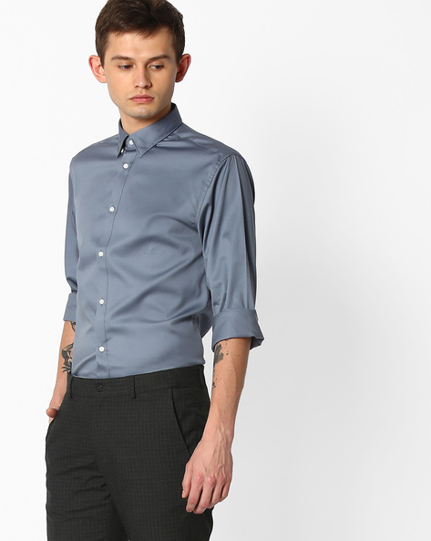 Regular Fit Cotton Shirt By SELECTED ( Stone )