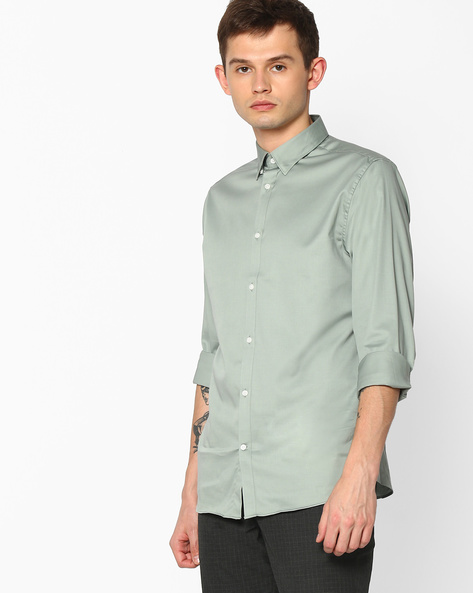 Regular Fit Cotton Shirt By SELECTED ( Gray )