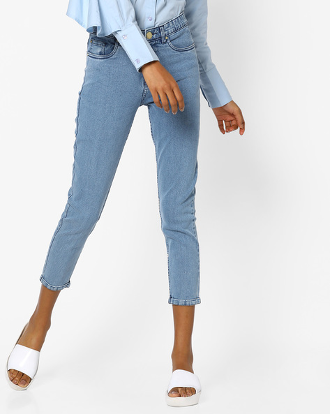 Relaxed Fit Cotton Denim Jeans By Blue Saint ( Blue )