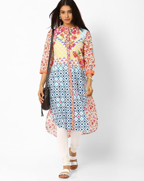 Printed High-Low Kurta By Biba ( Peach )