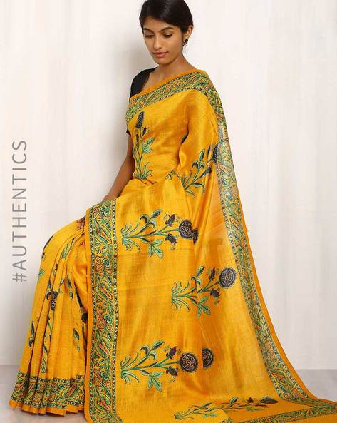 Hand Block Print Pure Silk Saree By Indie Picks ( Yellow )