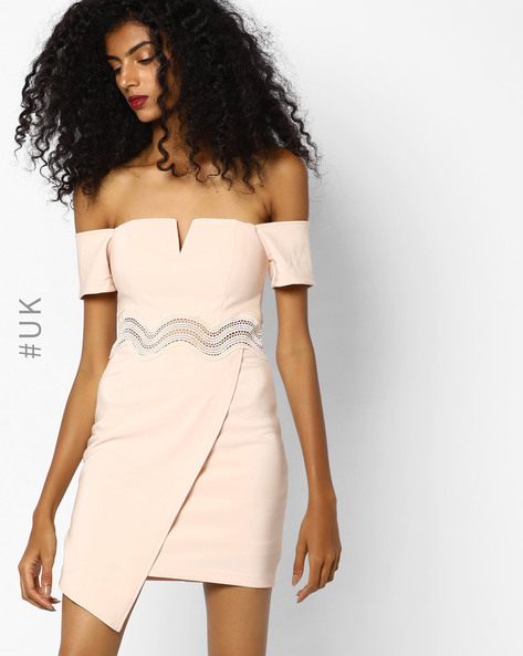 Off-Shoulder Dress With Lace Insets By Rare London ( Pink )