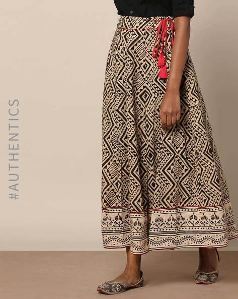 Hand Block Print Kalamkari Cotton Long Skirt By Indie Picks ( Multi )